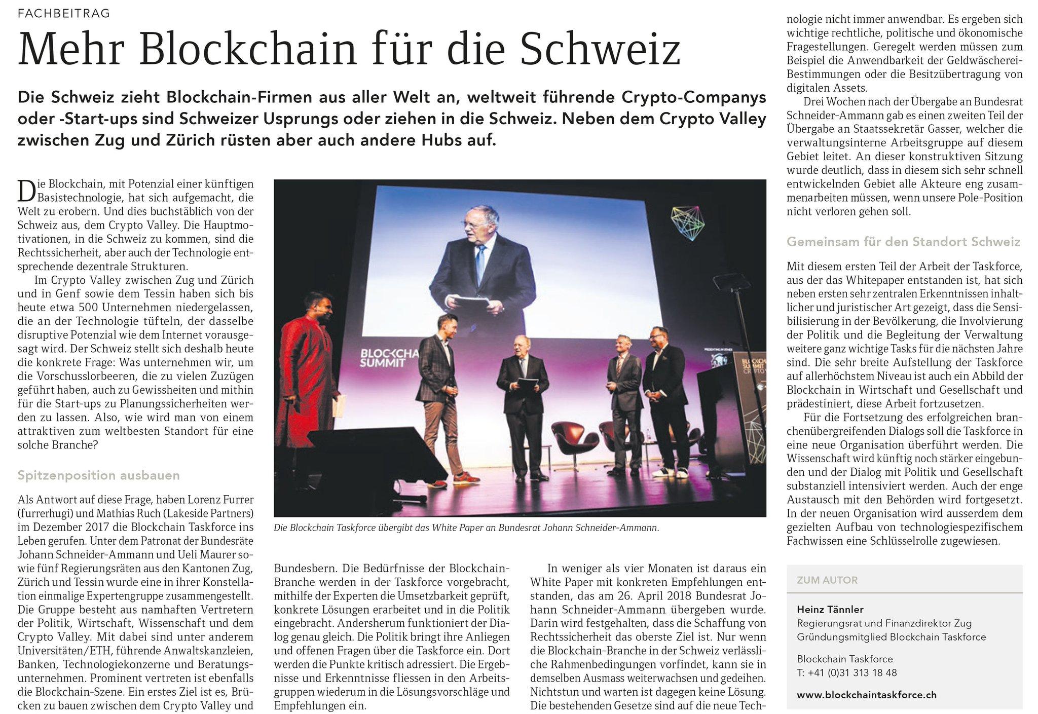Mehr Blockchain für die Schweiz